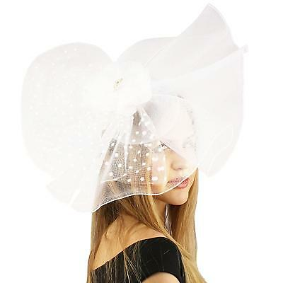 Big Fancy Fishnet Floral Derby Wedding Headband Party Fascinator Millinery White