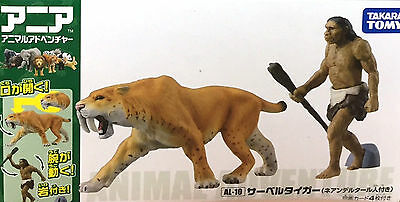 Tomy Animal series Ania AL-10 saber Tiger (with Neanderthal man )