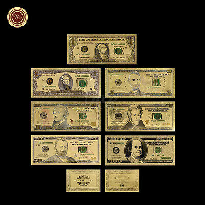 7PCS Gold Dollar Bill Full Set 24K Gold Banknote Colorful USD 1/2/5/10/20/50/100