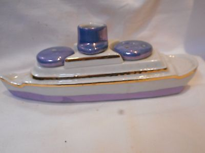 Vintage  Novelty Cruise Ship Salt & Peppers  & Mustard
