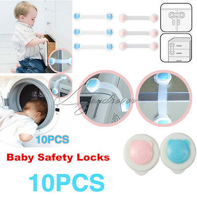 10X Adhesive Kids Child Baby Safety Lock For Cabinet Door Drawer Cupboard Fridge