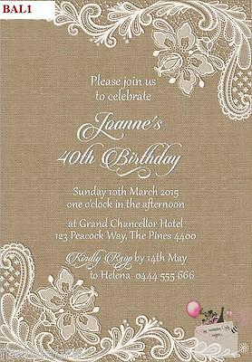 Rustic Burlap and Lace Birthday, Bridal Shower, Christening, Baptism INVITATIONS