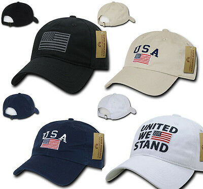 299e23c2caa US USA American Flag Patch Baseball Cap Dad Hat Hats Washed Cotton Polo  Style