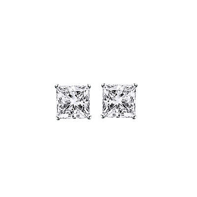 3Carat Princess Cut Solitaire Stud Earrings In Real 14K White Gold Screw Back