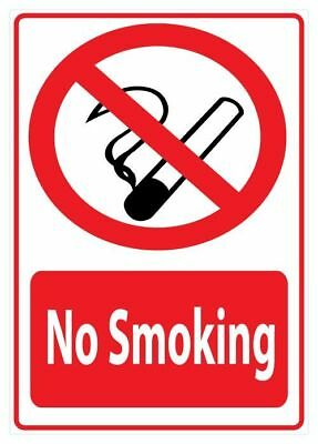 2 Pack of No Smoking Sign Sticker A5 Size 148mm x 210mm HB200