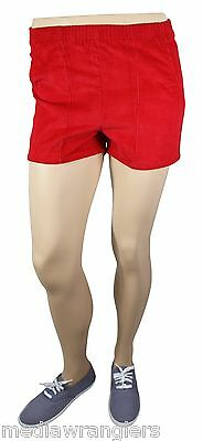 """NEW VTG 80s LEVI'S Corduroy SHORT SHORTS 32"""" Waist Youth XL 20 Red NWT Deadstock"""