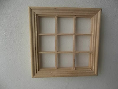 Dolls House Miniatures 1/12 Scale 9 Pane Wooden Window DIY003 New