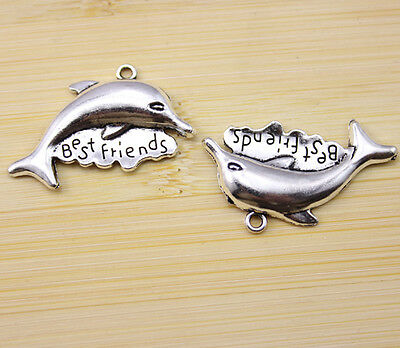 20//40//80 pcs Very lovely and lively little silver dolphin charm pendant 18x11 mm