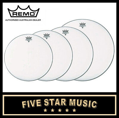 "Remo Ambassador Coated 4 Pce Drum Skin Fusion Set 10"" 12"" 14"" Heads New"