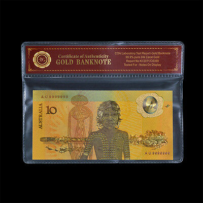 Bicentennial AUSTRALIA 1988 Polymer Banknote Colored $10 Commemorative Gold Note