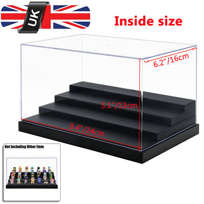 UK Perspex Acrylic Display Box Case 25cm L Plastic Base 4 Steps Clear Dustproof