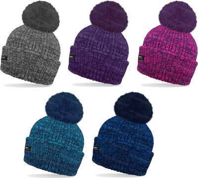 Ladies Mens Hat Marl Thinsulate Insulated Fully Fleece Lined Thermal Ski Bobble