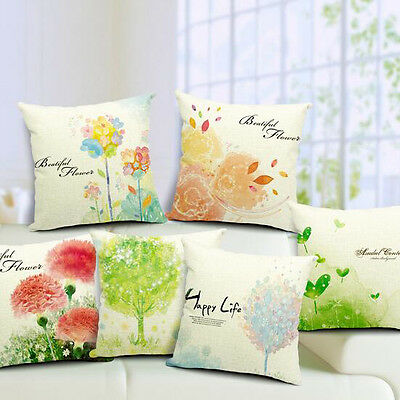 Vintage Linen Cotton Couch Sofa Cushion Cover Throw Pillow - Flower 45 X 45 cm