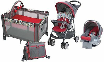 New Baby Stroller with Car Seat, Portable PlayYard, Backpack Diaper Bag Bundle