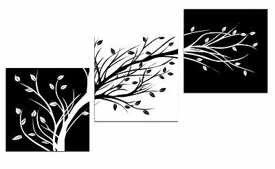 White & Black Leaves Canvas Print Abstract Painting  Artwork Modern Wall # 817