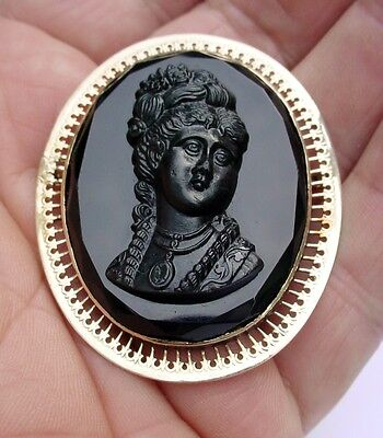Fabulous Antique Victorian French Jet 9K Gold Cameo Or Mourning Pin Large