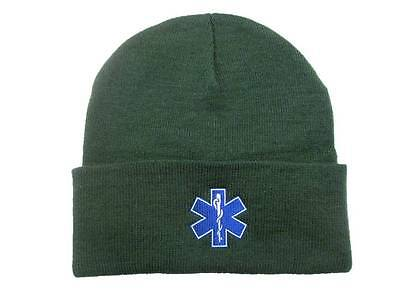 2 x Star of Life Green Woolly Hat  First Responder Ambulance Paramedic St Johns