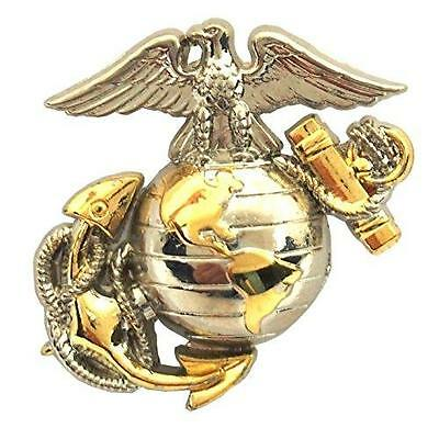 "US Marine Corps B2 Left Collar Gold Silver Emblem USMC Lapel / Hat Pin 1""  NEW"