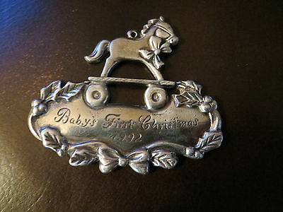"""GORHAM """"BABY'S FIRST CHRISTMAS 1992"""" - Sterling Silver ORNAMENT - TOY HORSE"""