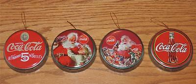 "NOS 2002 (4) dif COCA-COLA 3-3/8"" Metal Bottle Cap Christmas Ornaments - Santa"