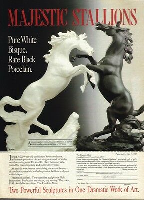 1989 Franklin Mint Majestic Stallions Magazine Ad White Bisque, Black Porcelain