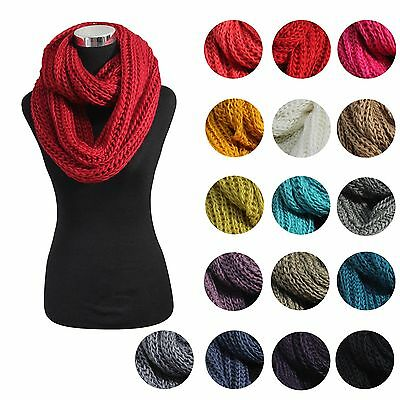 19 Solid Color New Women Fashion Winter Warm Neck Knit Cable Infinity Cowl Scarf