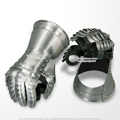 Medieval Flared Cuff Gauntlets Metal Glove Plate Armour 20G Steel Type A LARP