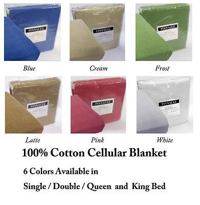 Brand New 100% Cotton Cellular Blanket -Colours Choices In All Bed Sizes