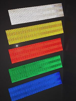 3M White, Gold, Red, Green & Blue Adhesive Reflective Tape Strips 50mm x 200mm