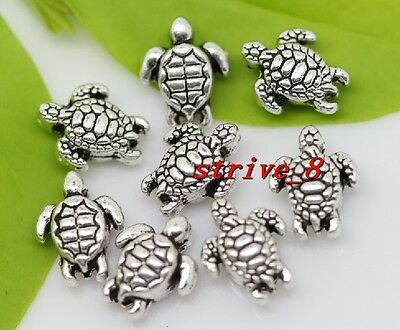 20//60pcs Tibetan Silver Sea Turtle Tortoise Charm Loose Spacer Beads 8x10mm