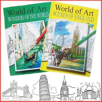 2* Relaxing Colouring Books Adults Anti-Stress Art England Wonders Of The World
