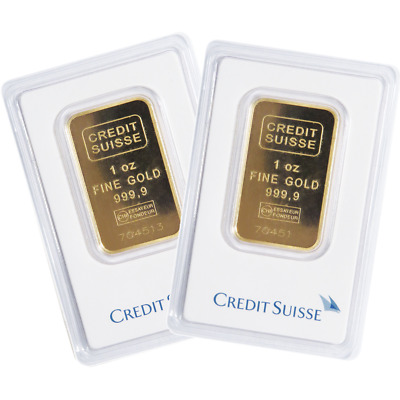 Lot of 2 - 1 Troy oz Credit Suisse Gold Bar .9999 Fine Sealed In Assay