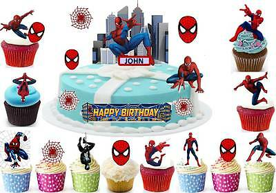 SPIDER MAN Avengers Cup Cake Scene Topper Wafer Edible Birthday STAND UP CUSTOM