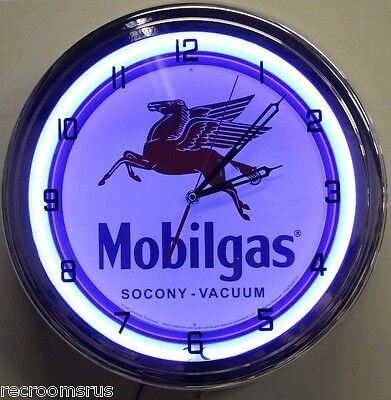 "MOBIL GAS blue neon clock peguses logo 15"" chrome body pull switch"