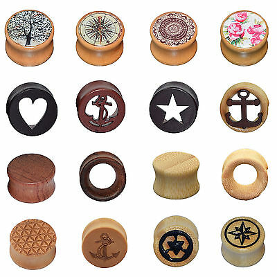 Pair Natural Wood Hollow Solid Double Flared Ear Plugs Tunnels Gauges Piercing