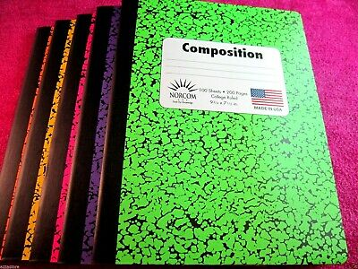 6 - Colored Marble Composition Note Books - 100 Sheets - College Ruled