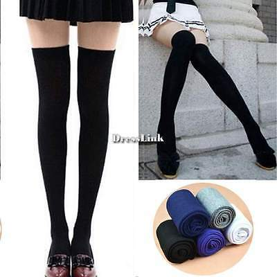 ♥♥ Calze Parigine Autoreggenti Donna Moda Over Knee Socks Cotton Knit Stockings