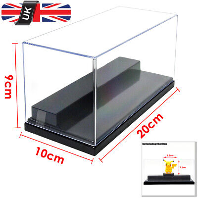 UK Clear Acrylic Display Box 20cm L Perspex 2 Steps Case Plastic Base Dustproof