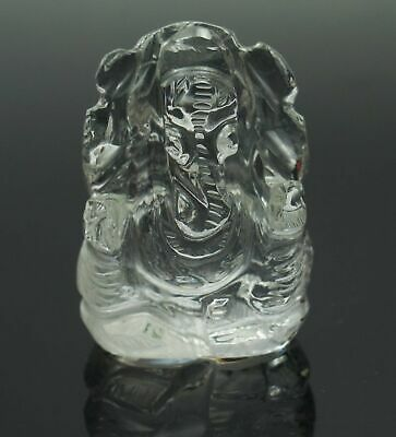 Crystal Clear Quartz Hand Carved Lord Ganesha Figurine Statue 33.02 MM CD70A