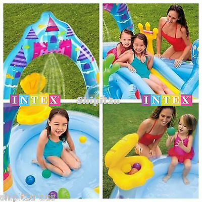 Intex Mermaid Kingdom Center Kids Inflatable Pool W/ Water Slide Ball Pit