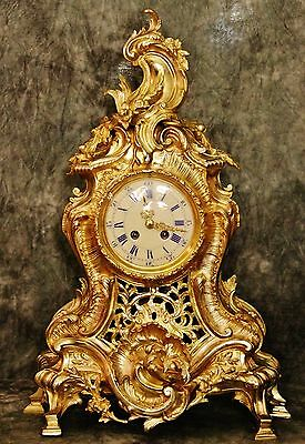 Wonderful Very Large Empire French Antique Japy Freres Gilt Bronze Clock 22Lbs