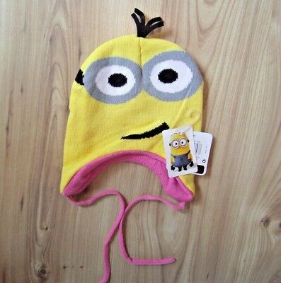Girls Knitted Despicable Me Minion Hat, Tie Ups Gorro 2 Eyes Pink Inner Lined