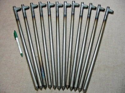 """12 pack of 18"""" long steel stakes,spikes or pegs. Heavy Duty USA!   62518HNP12"""