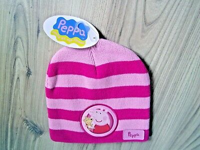 Kids Pepper/Peppa Pig George Pink Knitted Girls Hat Winter Warm Striped One Size