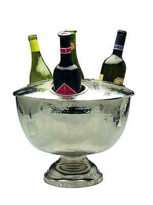 New WINE COOLER 4 BOTTLE HAMMERED w LID