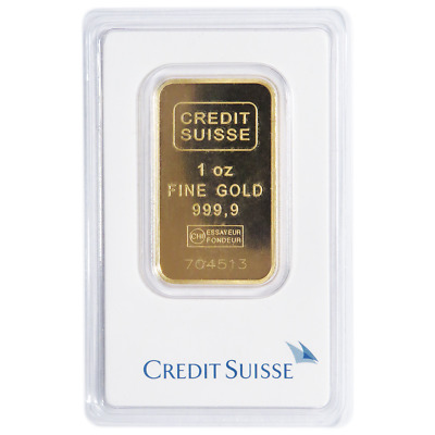 Lot of 100 - 1 Troy oz Credit Suisse Gold Bar .9999 Fine Sealed In Assay