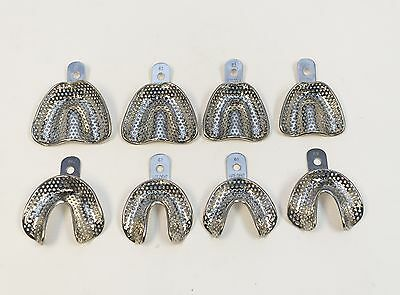 Dental Stainless Steel Perforated Impression Edentulous Trays Autoclavable 8/set