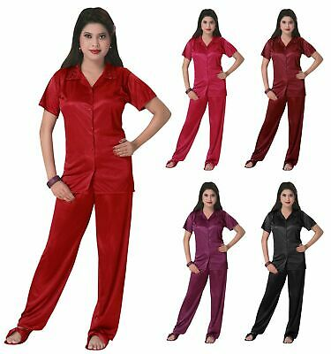 Ladies Satin Pyjama Set Silky Short Sleeve Girls Pj's Nightsuit Nightwear 8-14