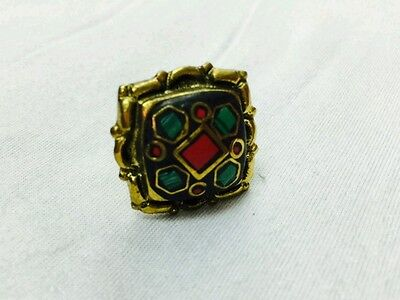 Nepal Natural Malachite & Coral Ring Gold Plated Sizable Ethnic Tribal Vintage