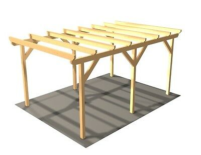 carport elbe 1 einzelcarport 3 04 x 5 10 m flachdach garage unterstand holz eur 429 99. Black Bedroom Furniture Sets. Home Design Ideas